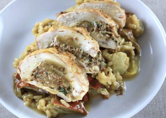 duxelles stuffed chicken - receitas da Tia Céu